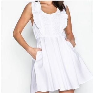 Free People Dresses - Free people white half moon mini dress w pockets